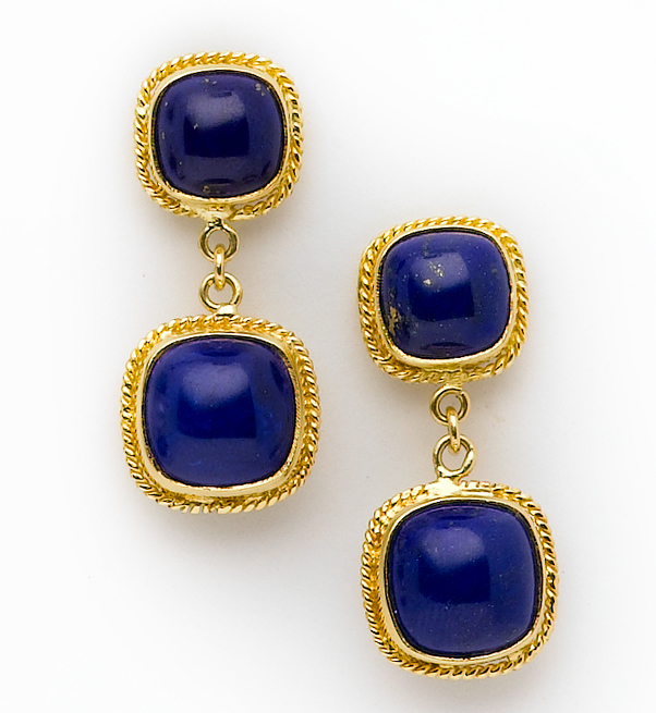 Lapis Lazuli Cushion Cut Cabochon Earrings Set In 18 Karat Gold Twist Wire Frames Post Back For Pierced Ears 10mm 12 Mm Cabochons