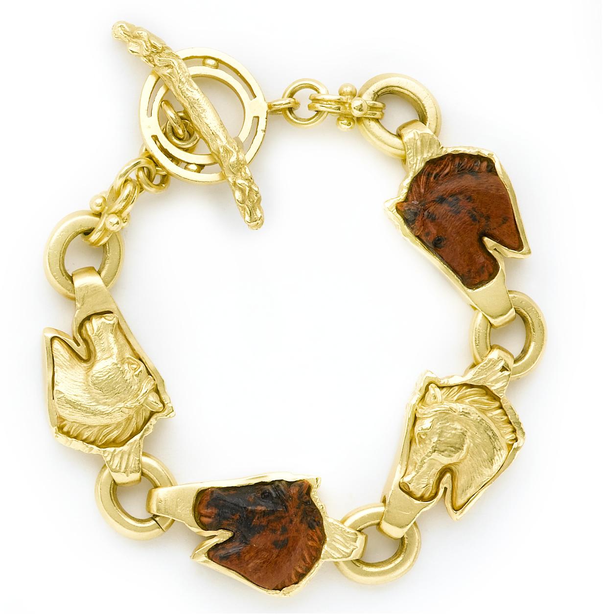 Gold Bracelet with Horses