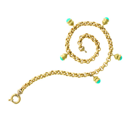 18 kt turquoise cabachone rollo chain. Sold