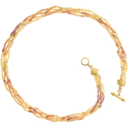 20 kt yellow / orange sapphire toggle necklace. $3850