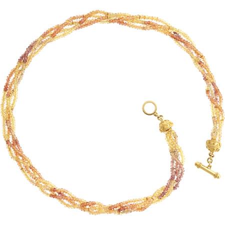 20 kt yellow / orange sapphire toggle necklace. $3850